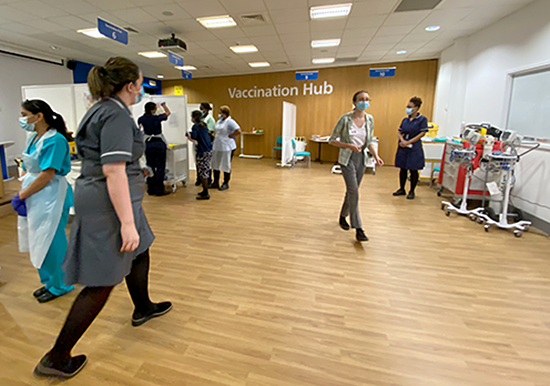 General view of the vaccination hub at Queen's Hospital